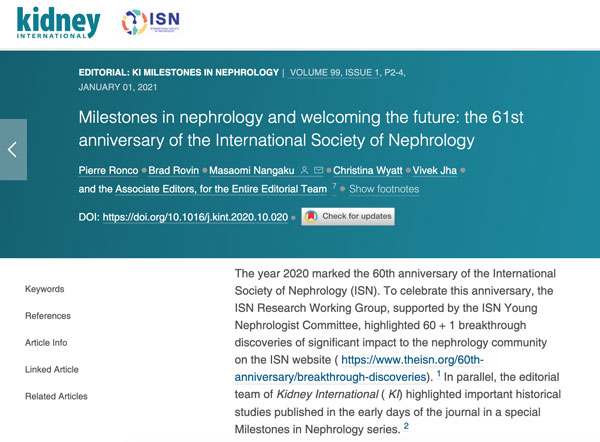 Kidney International Highlights ISN's 60th Anniversary Research and Historical Studies Series
