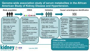 Genome-wide Association Study of Serum Metabolites in the African American Study of Kidney Disease and Hypertension